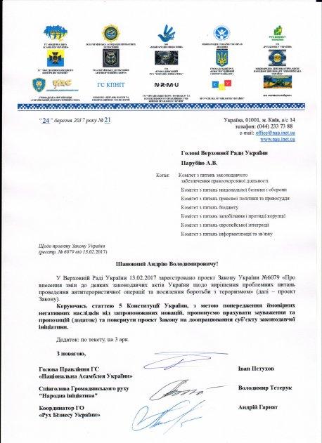 Щодо проекту Закону України (реєстр.№6079 від 13.02.2017)