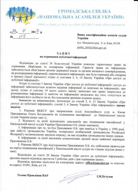 Запит на отримання публічної інформації щодо судді Апеляційного суду м. Києва Присяжнюка Олега Богдановича