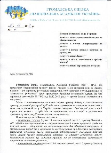 Лист НАУ щодо ПЗ реєстр.№7443