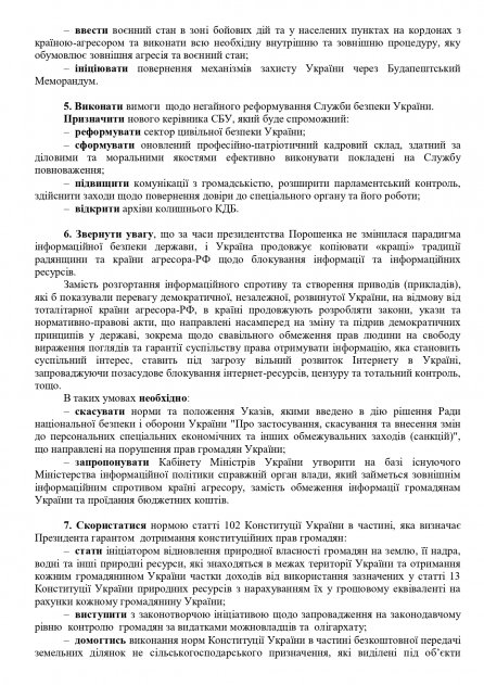 Лист щодо Настанов новообраному Президенту України