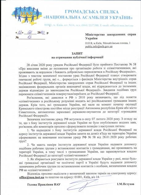 ЗАПИТИ на отримання публічної інформації «Про внесення зміни до положення про організацію роботи зі співвітчизниками, які проживають за кордоном і бажають добровільно переселитися в РФ»